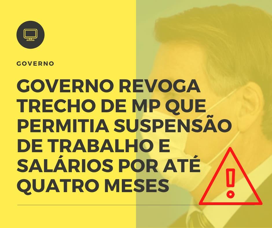 Governo Revoga Trecho De Mp Que Permitia Suspensão De Trabalho E Salários Por Até Quatro Meses - Contabilidade Em Itapecerica Da Serra | Espectro Contabilidade